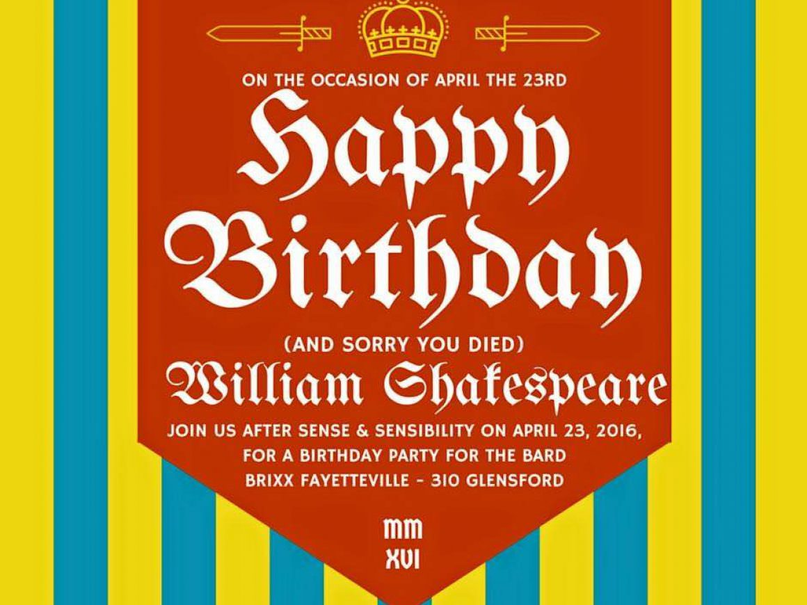 Celebrate the Bard's Birthday with Sweet Tea Shakespeare